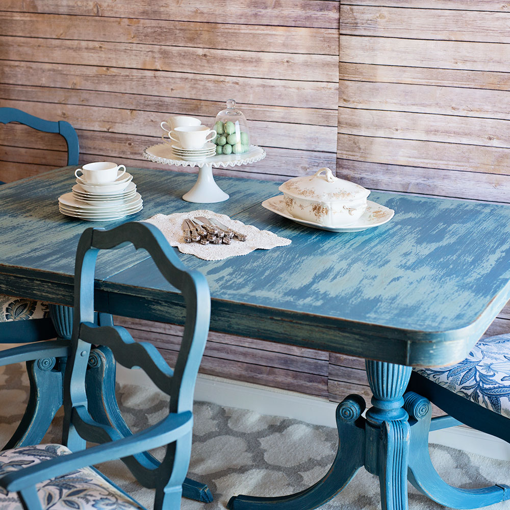 Blue shabby chic furniture - Blue Shabby Chic Dining Set